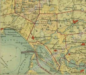 Фрагмент карты 1902г. со ст.Ясенской